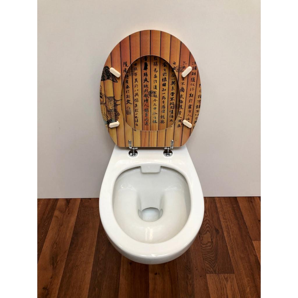 ADOB WC-Sitz »Chinesische Schrift«, mit messingverchromten Scharnieren