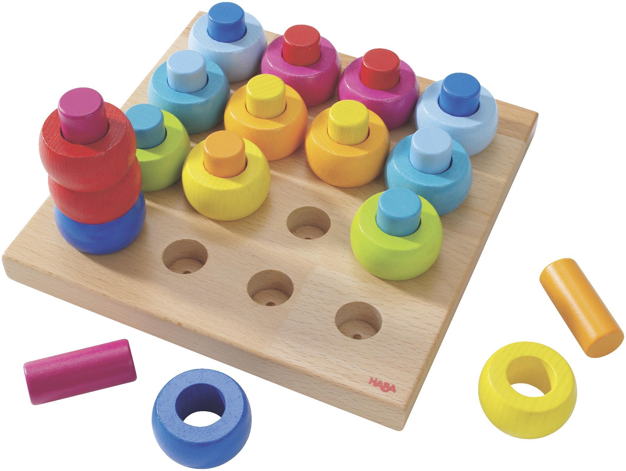 Haba Steckspielzeug Farbkringel, Made in Germany bunt Kinder Holzspielzeug