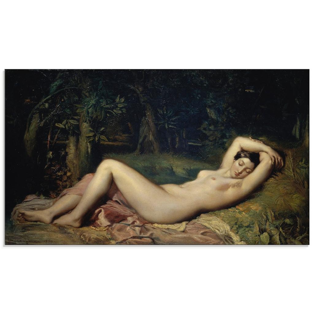 Artland Glasbild »Schlafende Nymphe.«, Frau, (1 St.)