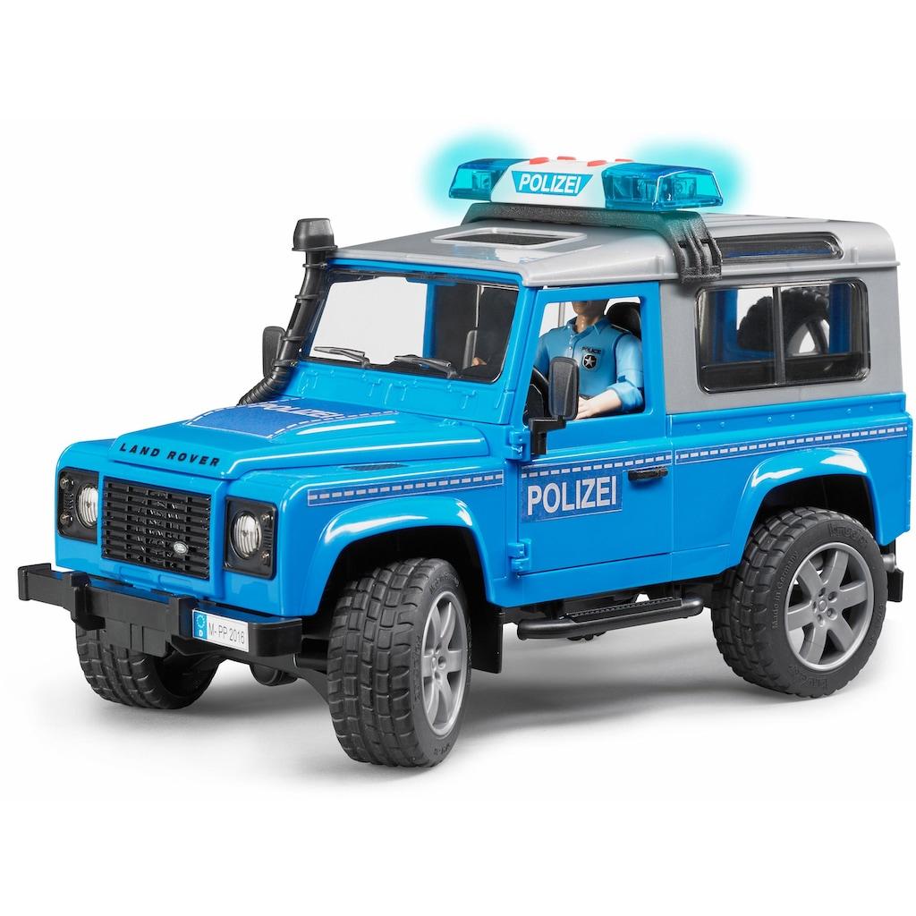 Bruder® Spielzeug-Polizei »Land Rover Defender St. Wagon Polizeifahrzeug, 1:16, blau«, mit Licht und Sound, Made in Germany