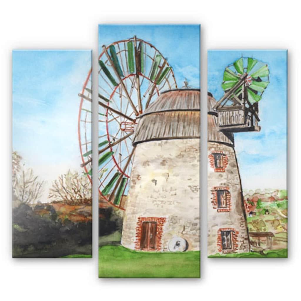 Wall-Art Mehrteilige Bilder »Holland Windmühle (3-teilig)«, (Set, 3 St.)