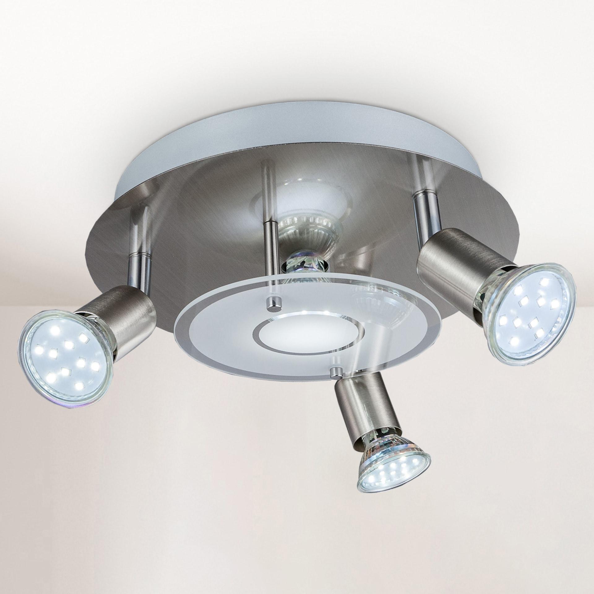 B.K.Licht LED Deckenstrahler, GU10, Warmweiß, LED Deckenleuchte rund Metall Glas Lampe Wohnzimmer Strahler GU10 inkl. 3W 250lm