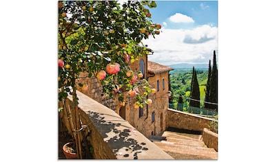Artland Glasbild »Rosen auf Balkon Toskanalandschaft«, Garten, (1 St.) kaufen