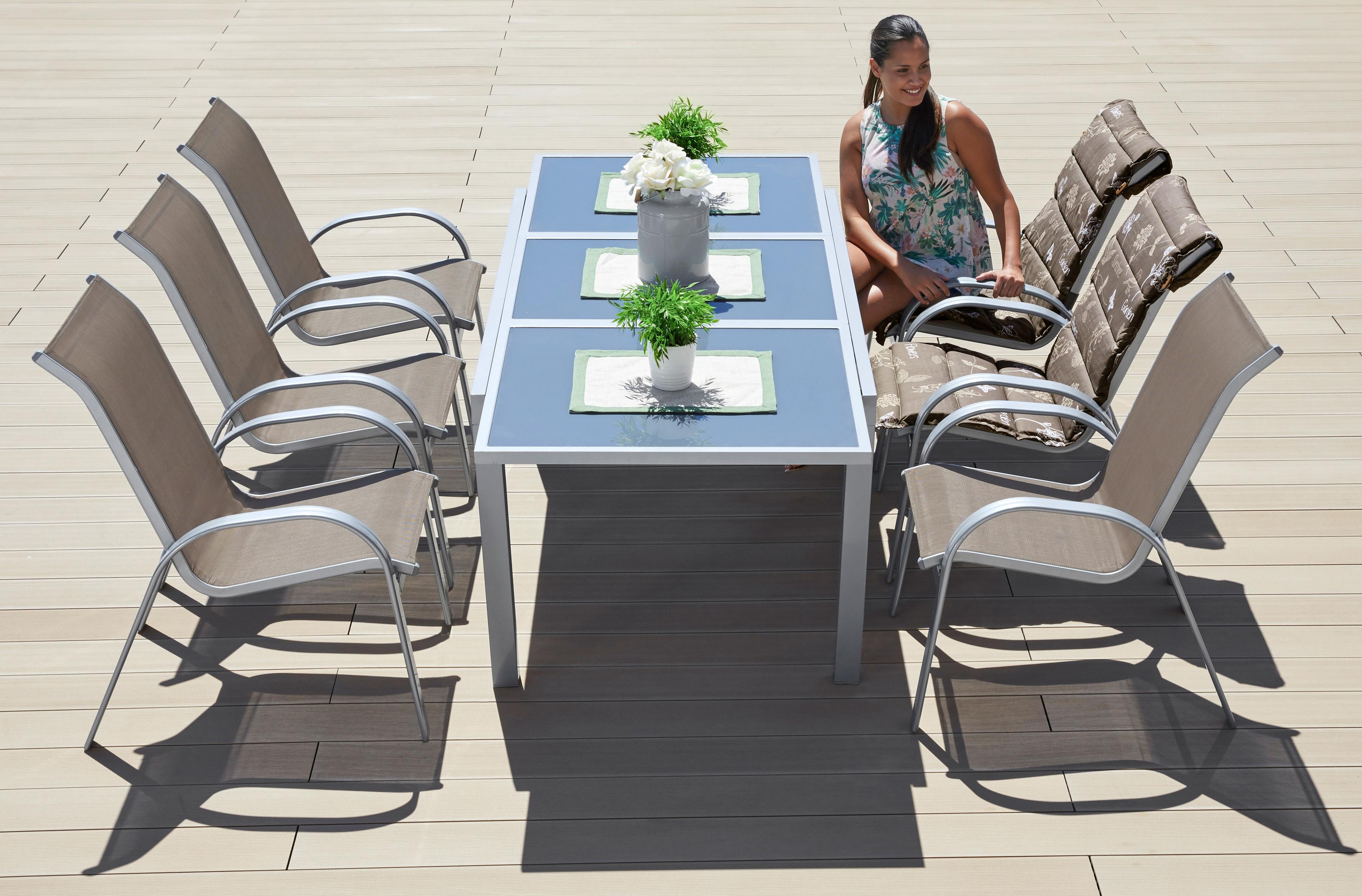 MERXX Gartenmöbelset Amalfi 7-tlg 6 Sessel Tisch 90x140-200 cm Alu/Textil
