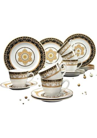 CreaTable Kaffeeservice »Majestosa«, (Set, 18 tlg.), Dekor schwarz abgesetzt, Mikrowellengeeignet kaufen