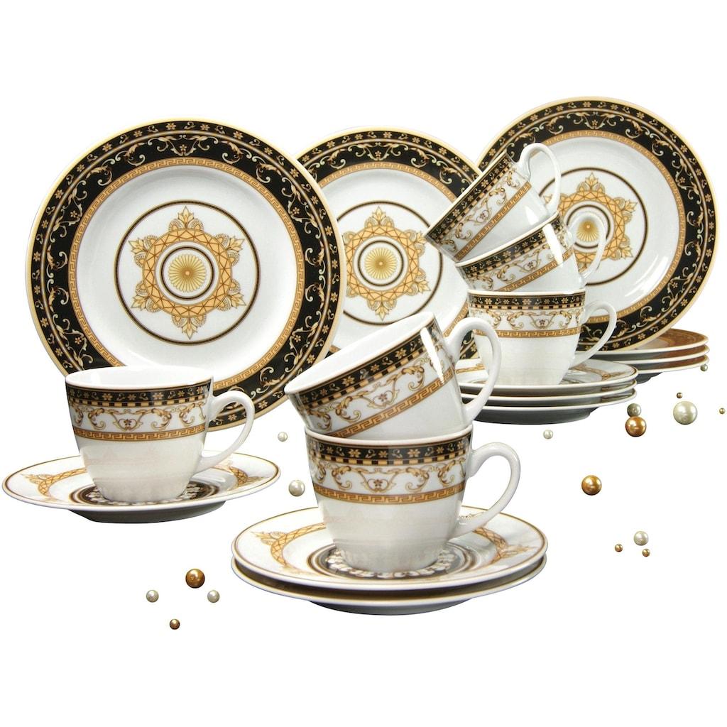 CreaTable Kaffeeservice »Majestosa«, (Set, 18 tlg.), Dekor schwarz abgesetzt, Mikrowellengeeignet