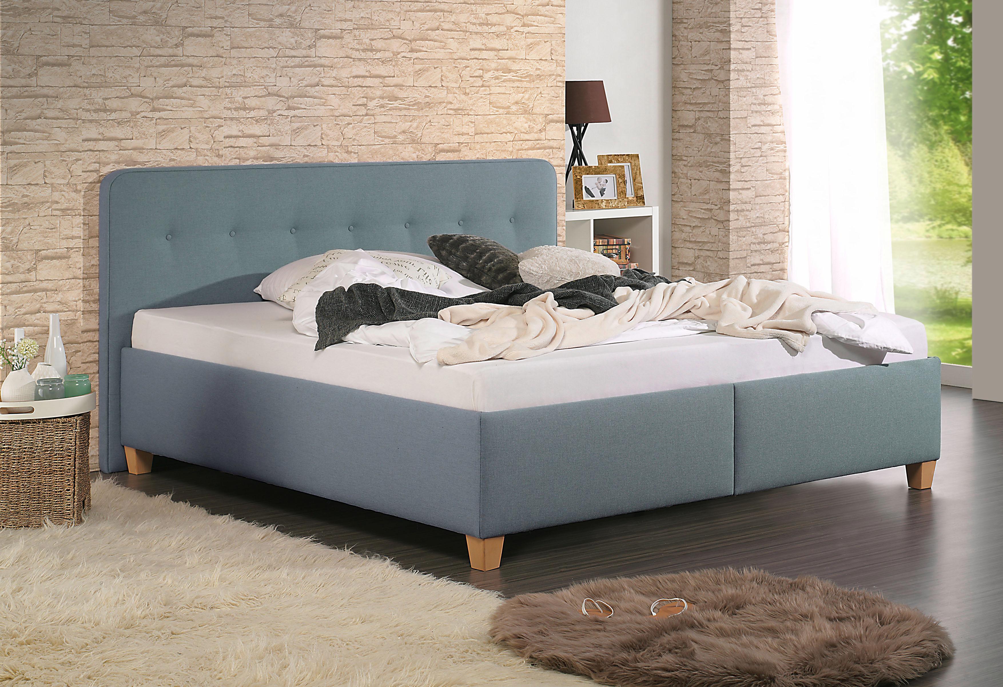 Home affaire Polsterbett Figaro | Schlafzimmer > Betten > Polsterbetten | Grün | Strukturstoff - Buche | Home Affaire
