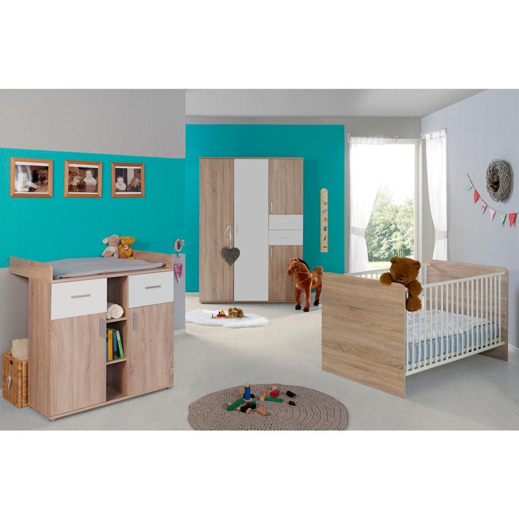 BMG Babyzimmer-Komplettset »Maxim«, (Set, 3 St.), Bett + Wickelkommode + 4-trg. Schrank