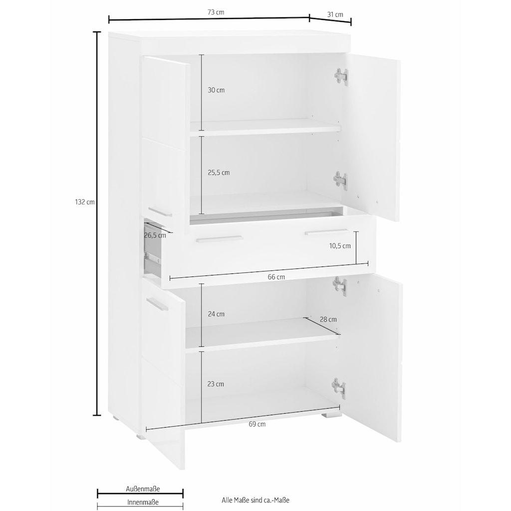 trendteam Midischrank »Amanda«, Breite 73 cm, Badezimmerschrank mit 1 großen Schubkasten und 4 Türen, MDF-Fronten in Hochglanz- oder Holzoptik