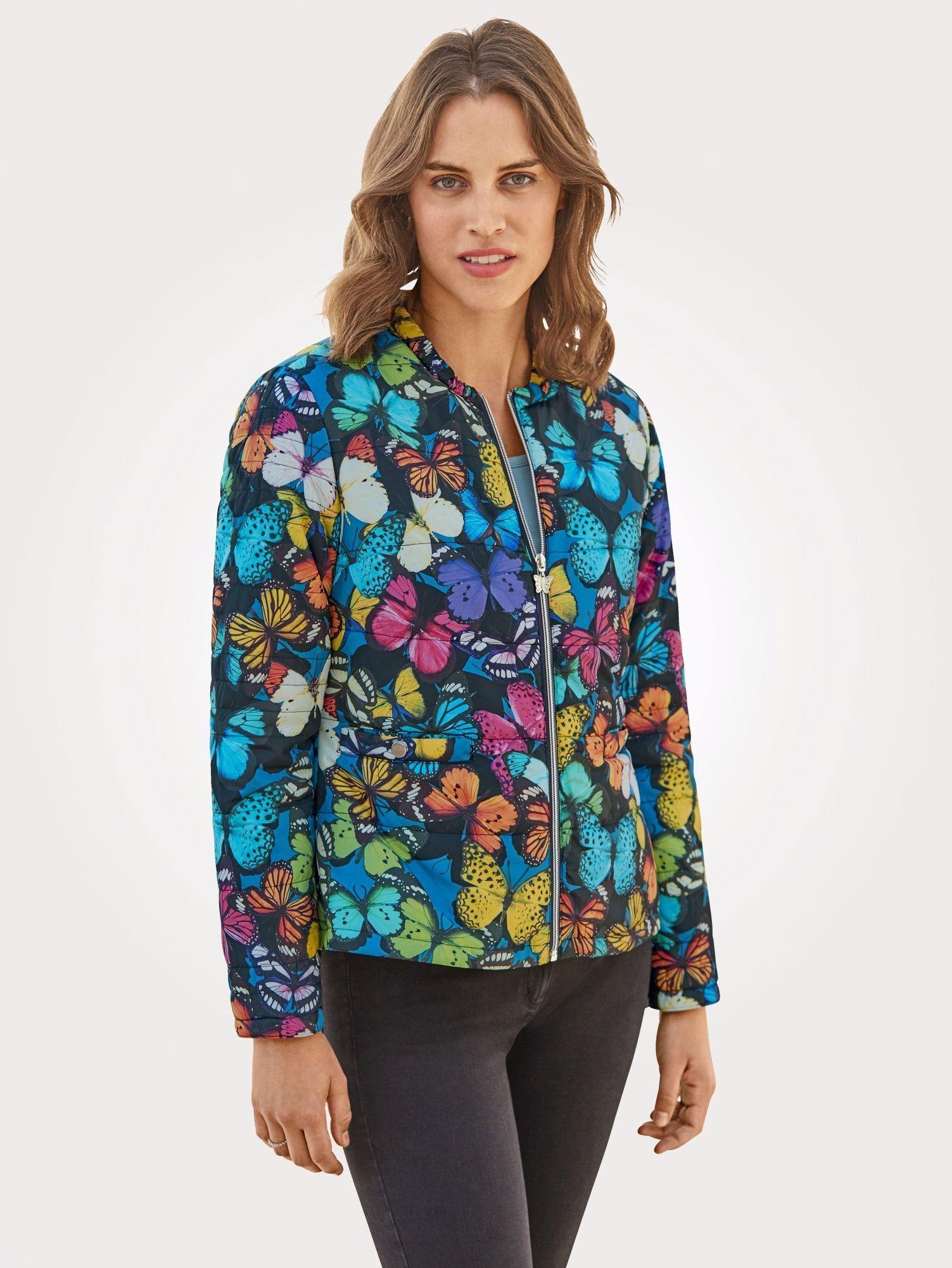 Mona Steppjacke mit Schmetterlingsdruck   Bekleidung > Jacken > Daunenjacken & Steppjacken   Bunt   Polyester   Mona