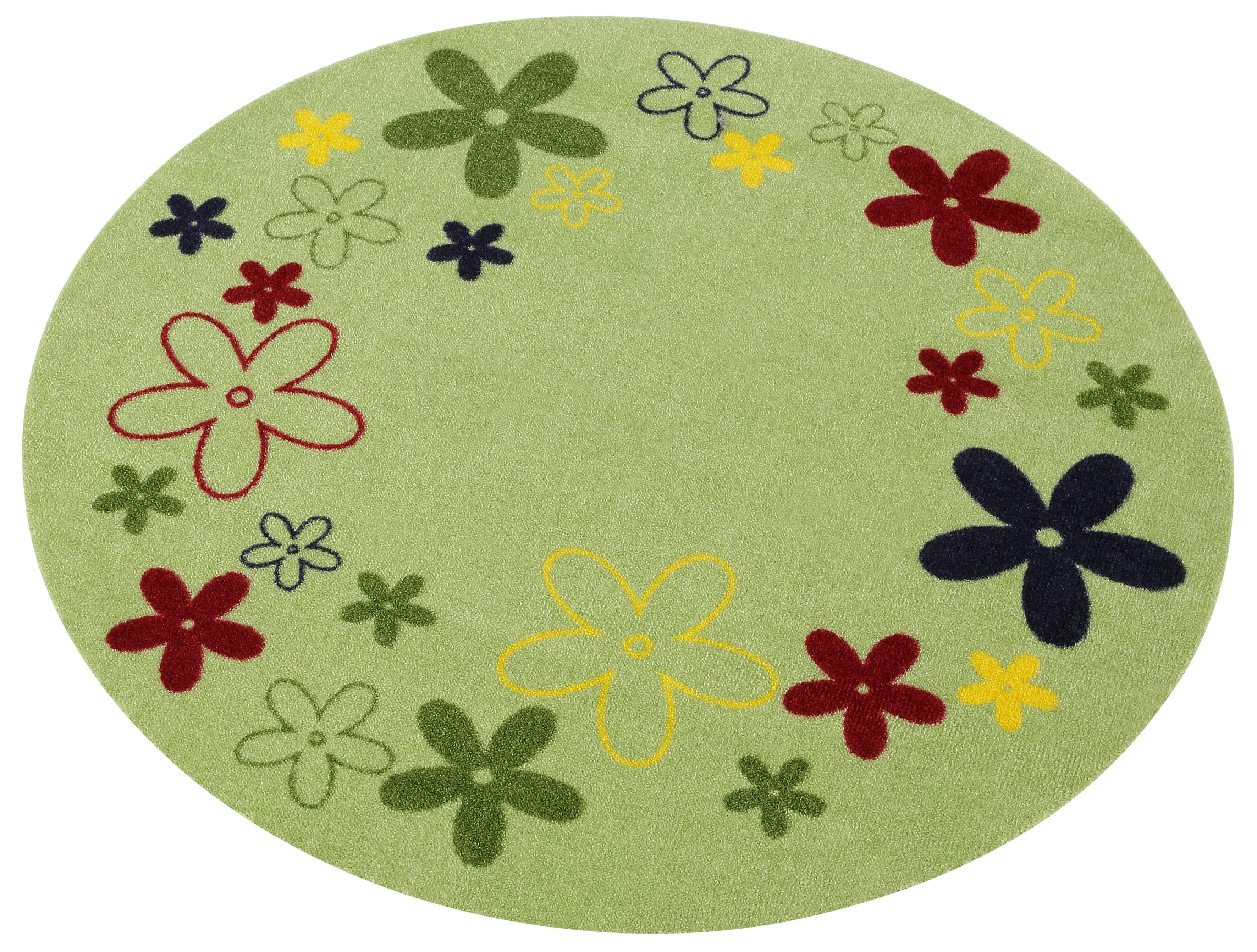 Kinderteppich Blumen Zala Living rund Höhe 7 mm maschinell getuftet