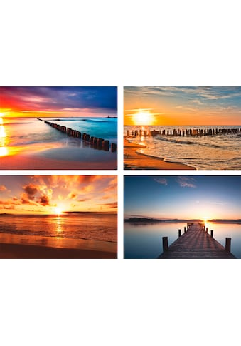 Artland Poster »Ostsee Strand Sonne Sonnenuntergang«, Strand, (4 St.), Poster,... kaufen