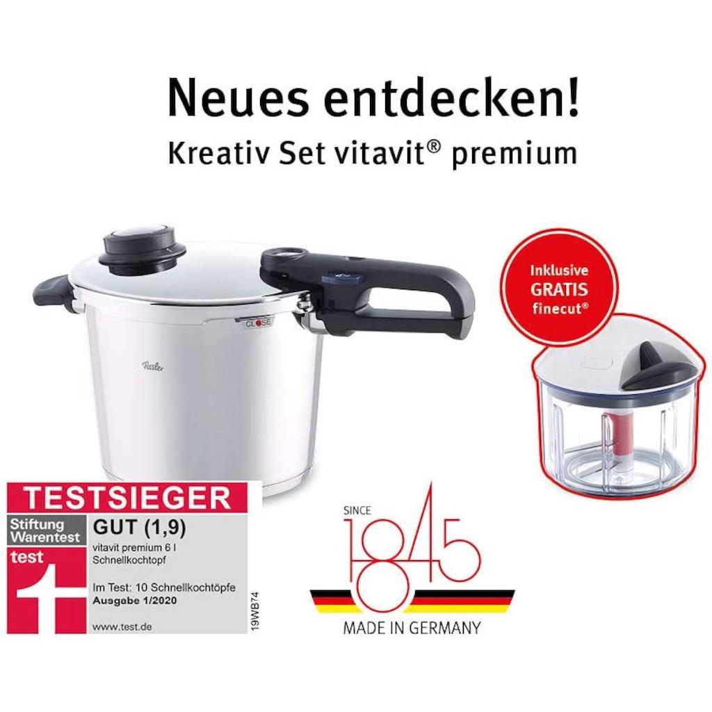 Fissler Schnellkochtopf »vitavit® premium Schnellkochtopf 6l inkl. GRATIS finecut®«, Edelstahl 18/10, (2 tlg.)