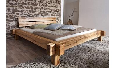 Massivholzbett, (Set), wahlweise mit Bettkasten, aus massivem Wildeichenholz in Balken-Optik kaufen