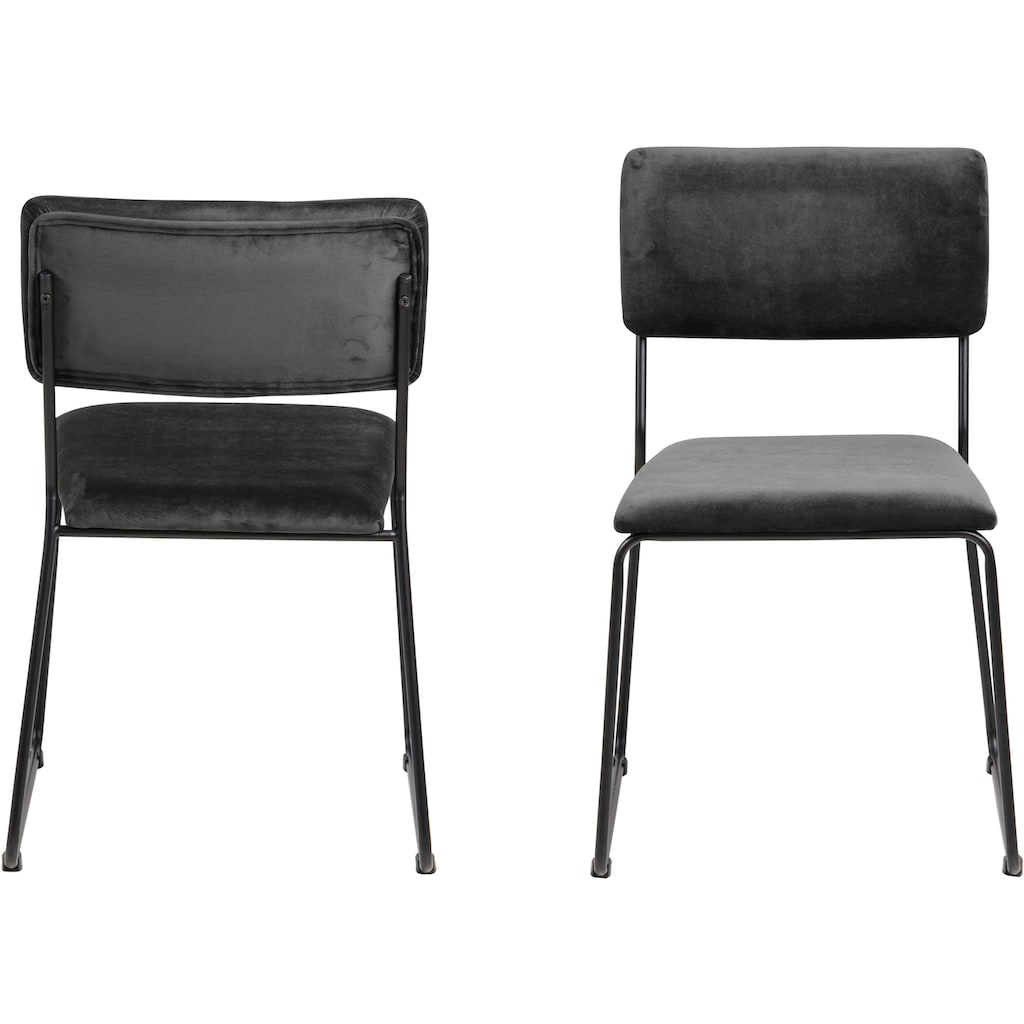 andas Esszimmerstuhl »Clara«, 2er Set, in verschiedenen Bezugsqualitäten und Farbvarianten, schwarzes Metallgestell, Sitzhöhe 46 cm