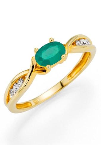 Firetti Fingerring »Oberfläche glänzend, schimmernder Edelstein«, mit Zirkonia und Smaragd kaufen