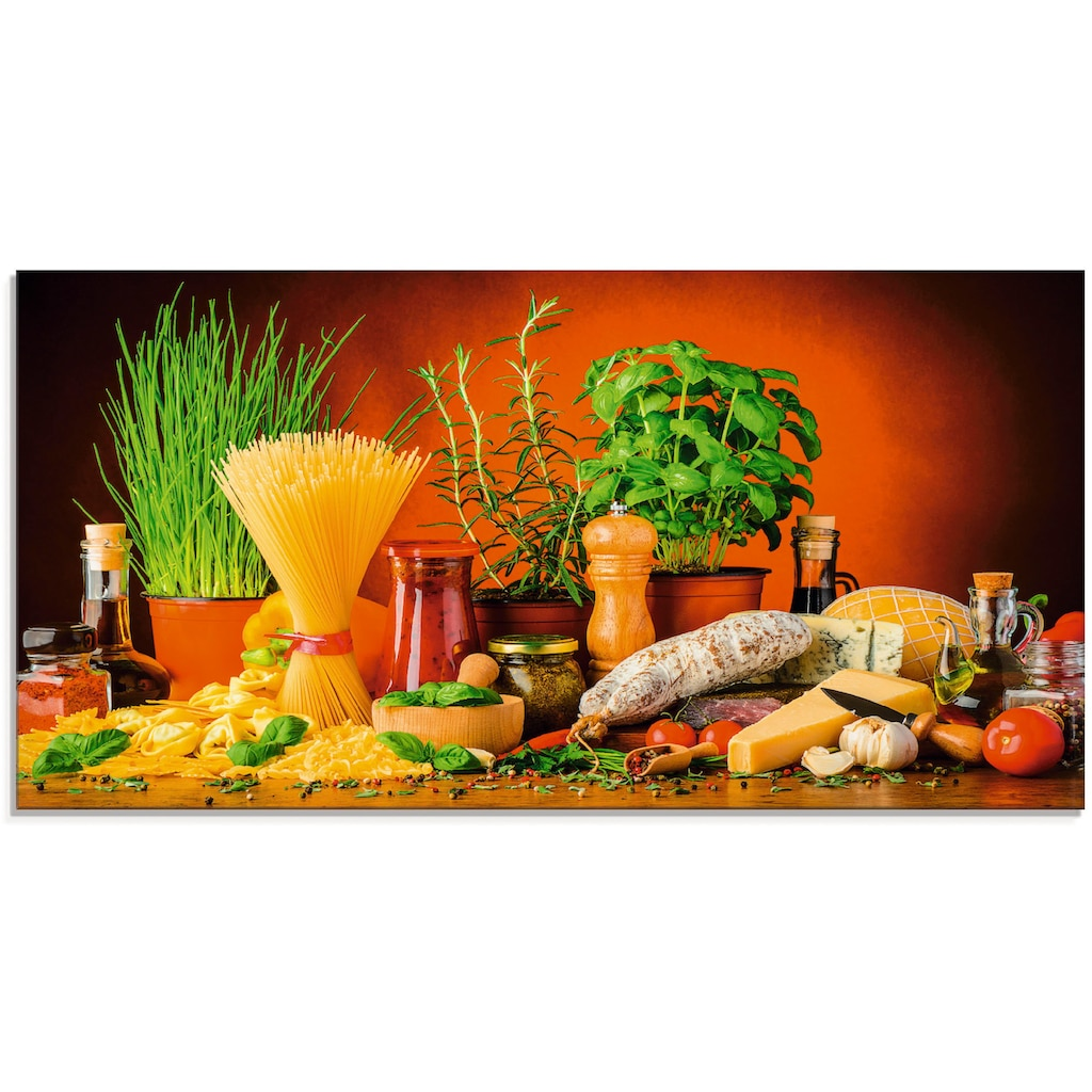 Artland Glasbild »Mediterranes und italienisches Essen«, Lebensmittel, (1 St.)