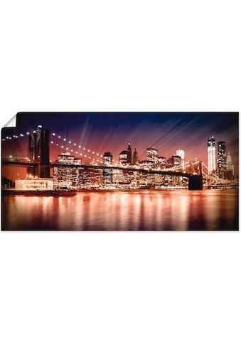 Artland Wandbild »Manhattan Sonnenuntergang«, Brücken, (1 St.), in vielen Größen &... kaufen