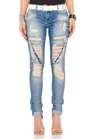 Cipo & Baxx Slim-fit-Jeans, mit coolen Used-Elementen kaufen