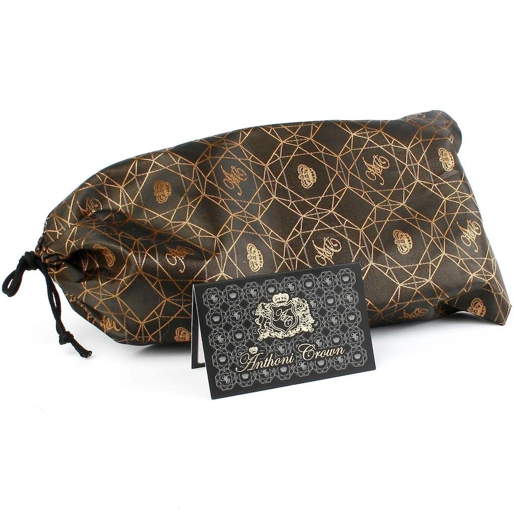 Anthoni Crown Ledergürtel, Eleganter Klassiker in schwarz mit Glitzersteinen