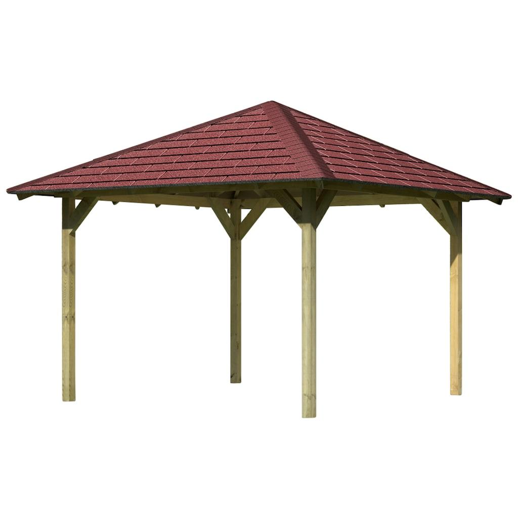 Karibu Holzpavillon »Cordoba 1«, (Set), BxT: 357x357 cm, inkl. Dachschindeln und Pfostenanker