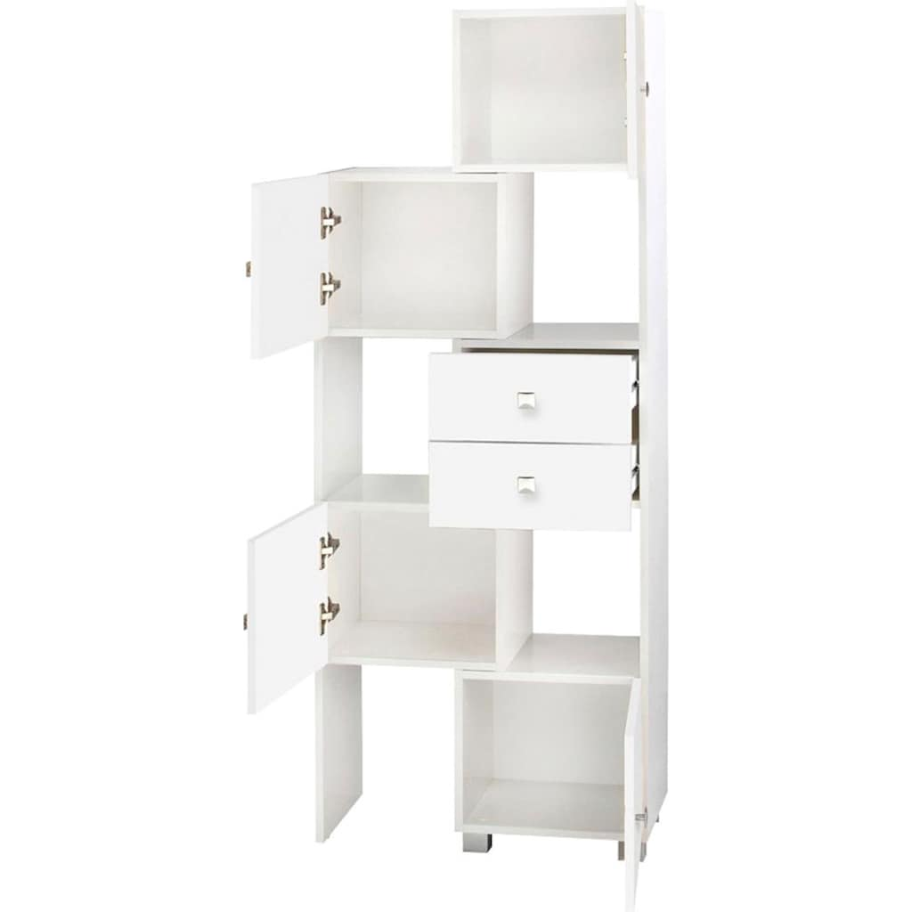 Schildmeyer Schieberegal »Bozen«, Breite 38-68 cm, Badregal, 4 Türen & 2 Schubladen