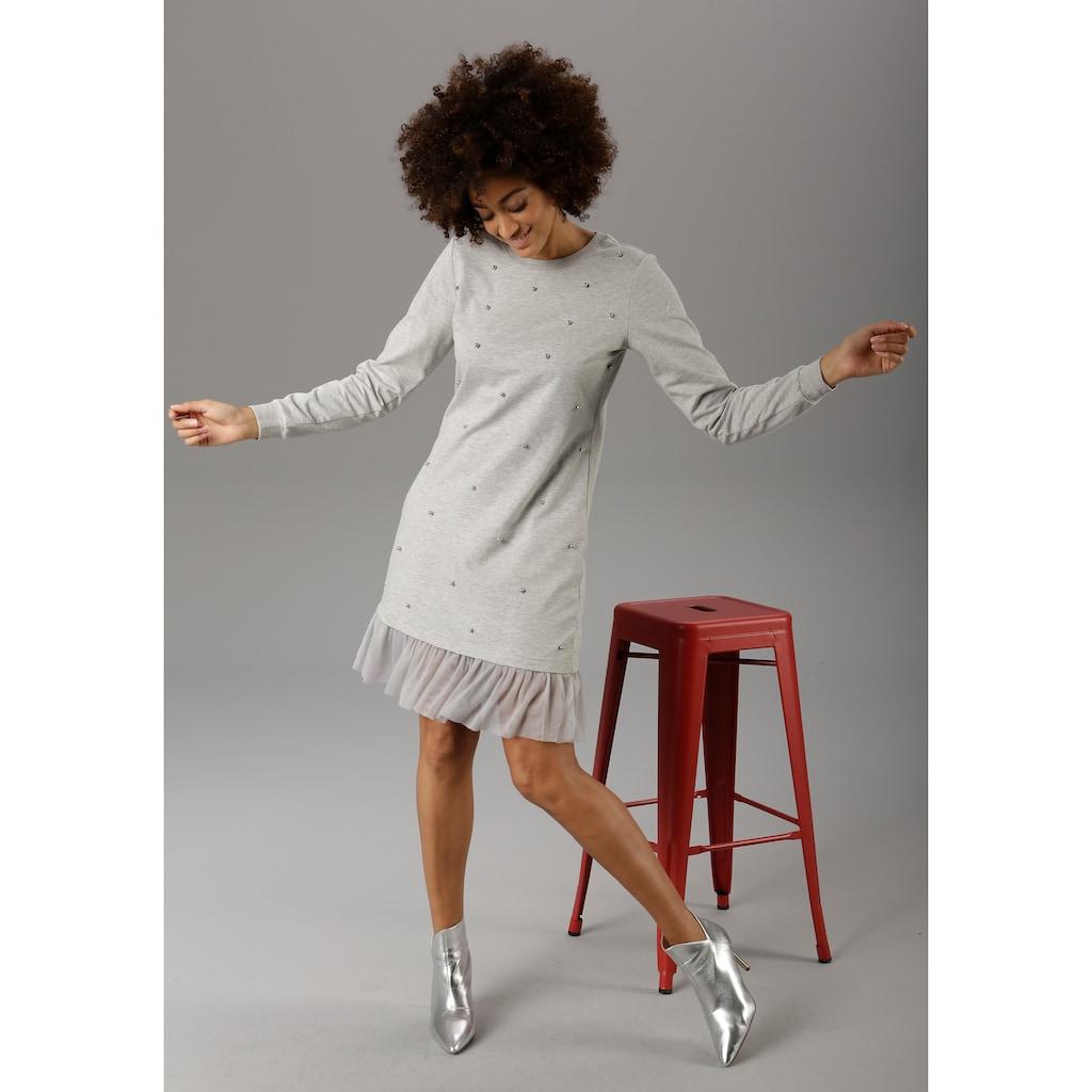 Aniston CASUAL Sweatkleid, mit glänzenden Zierperlen bestickt
