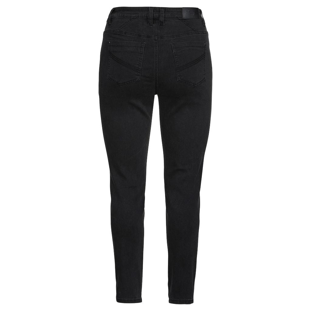 Sheego Stretch-Jeans, mit Stickerei und Pailletten