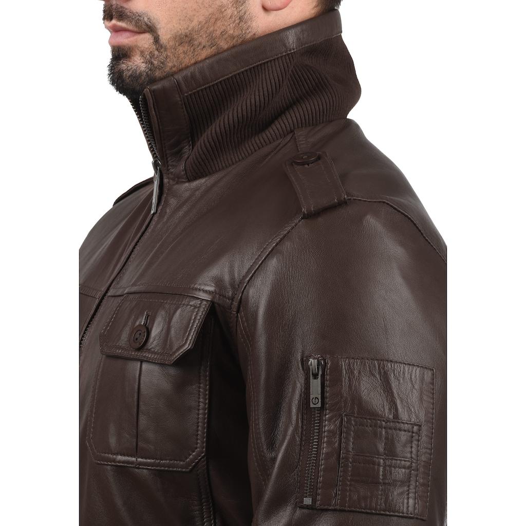 Solid Lederjacke »Famash«, Bikerjacke aus 100% Schafsleder