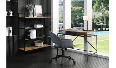 SalesFever Schreibtisch, Ablagefläche aus Metallrahmen und mattschwarzem Polyrattan in... kaufen