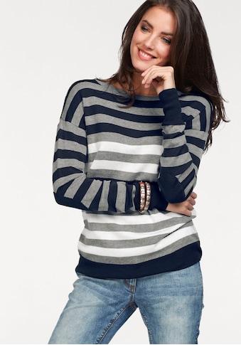 Aniston CASUAL Rundhalspullover, mit kurzer Zierknopfleiste im Rückenteil kaufen