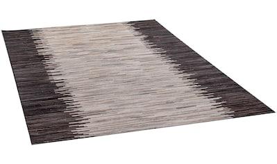 THEKO Fellteppich »Kobe-Streifen«, rechteckig, 3 mm Höhe, Patchwork, echtes Rinderfell in Naturtönen, Wohnzimmer kaufen