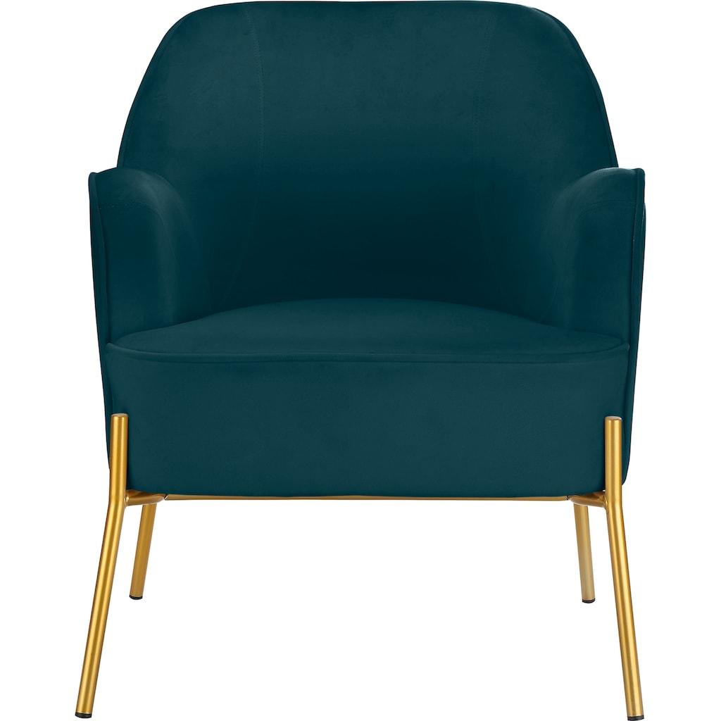 Leonique Sessel »Runa«, mit einem schönen pflegeleichten Samtvelours Bezug, in vier unterschiedlichen Farbvarianten, Sitzhöhe 44 cm