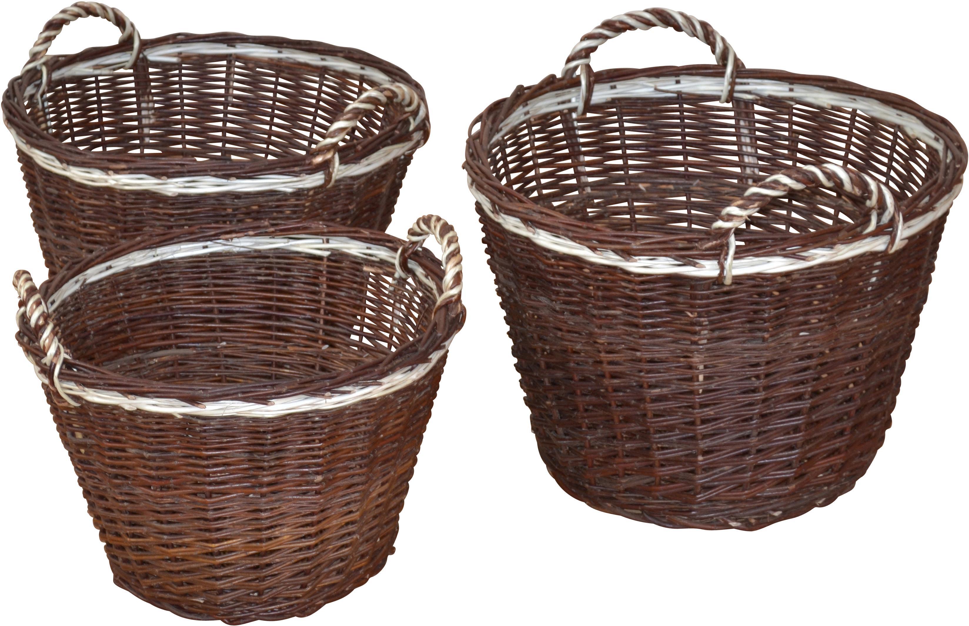 Aufbewahrungskorb, (Set, 3 St.), Ø 45, 50, 54 cm braun Körbe Aufbewahrung Ordnung Wohnaccessoires Aufbewahrungskorb