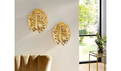 Leonique Wandkerzenhalter »Leaf«, Kerzen-Wandleuchter, Kerzenhalter, Kerzenleuchter hängend, Wanddeko, Blattform, mit Teelichthalter kaufen
