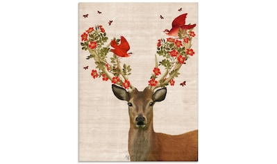 Artland Glasbild »Hirsch und Vögel Liebe«, Wildtiere, (1 St.) kaufen