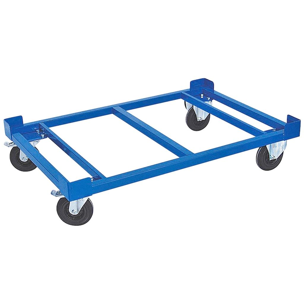 Transportroller, LxBxH 1210x810x275 mm, Tragkraft 750 kg, Rad-Ø 160x50 mm, Vollgummibereifung