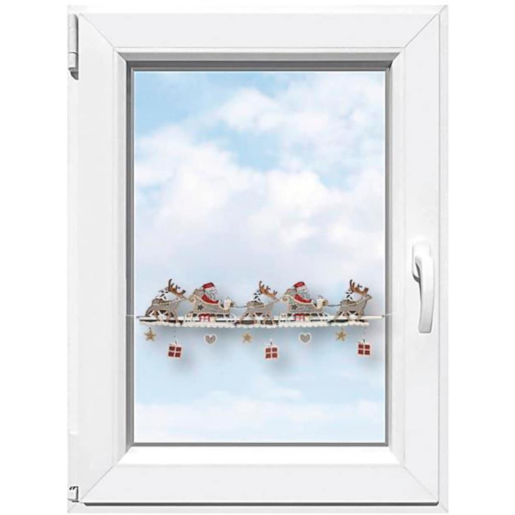 """Stickereien Plauen Scheibengardine »Weihnachtsmann«, Fensterdekoration """"Weihnachtsmann"""""""