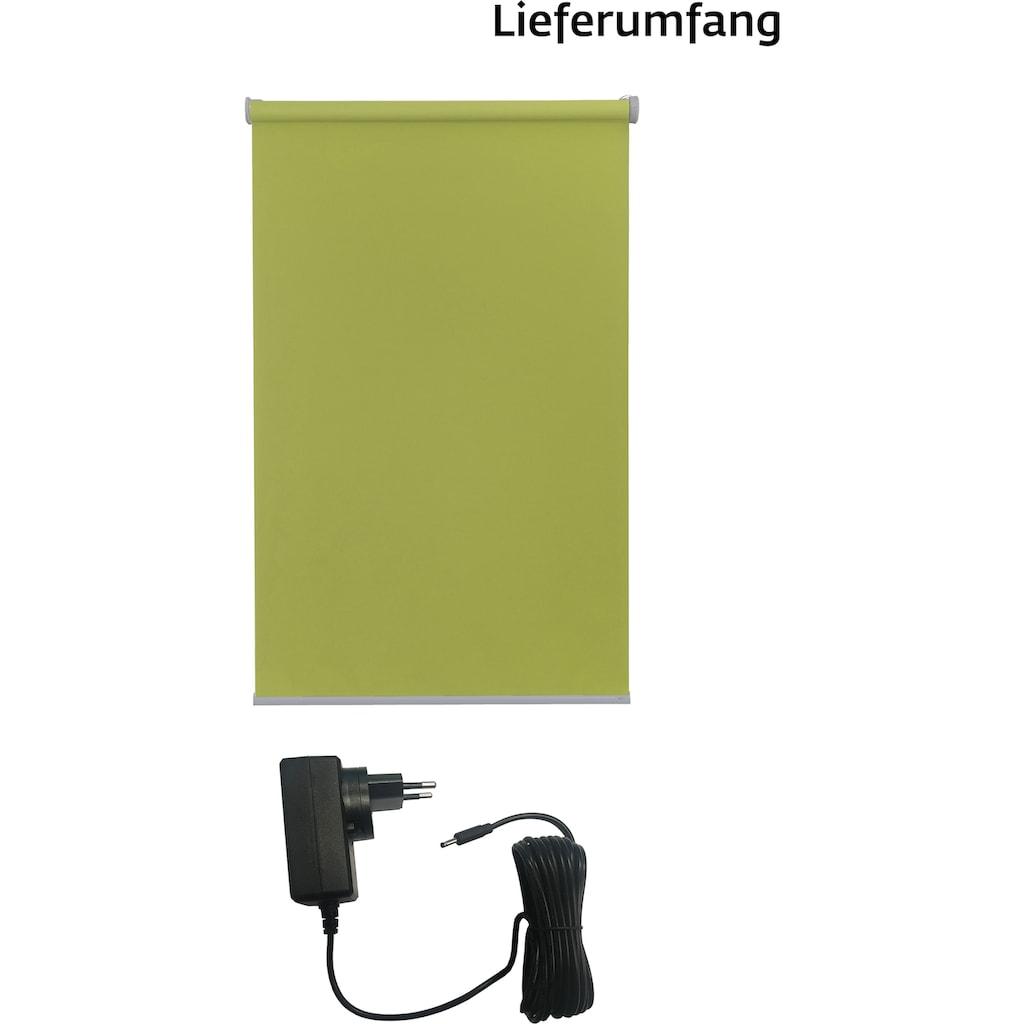 sunlines Elektrisches Rollo »Akkurollo«, Lichtschutz, Sichtschutz, mit Bohren, appgesteuert via Bluetooth, silberfarbener Fallstab