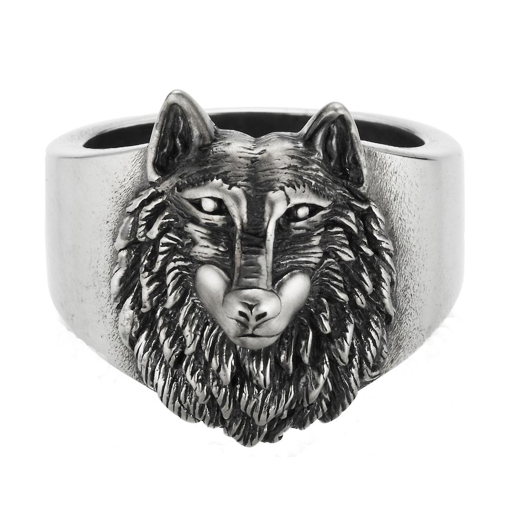 CAÏ Ring »925/- Sterling Silber oxidiert Wolf Europa«