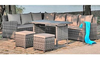 GARDEN PLEASURE Loungeset »OVIEDO«, 19 - tlg., 2 Bänke, 2 Stühle, Tisch 71x121, Polyrattan kaufen