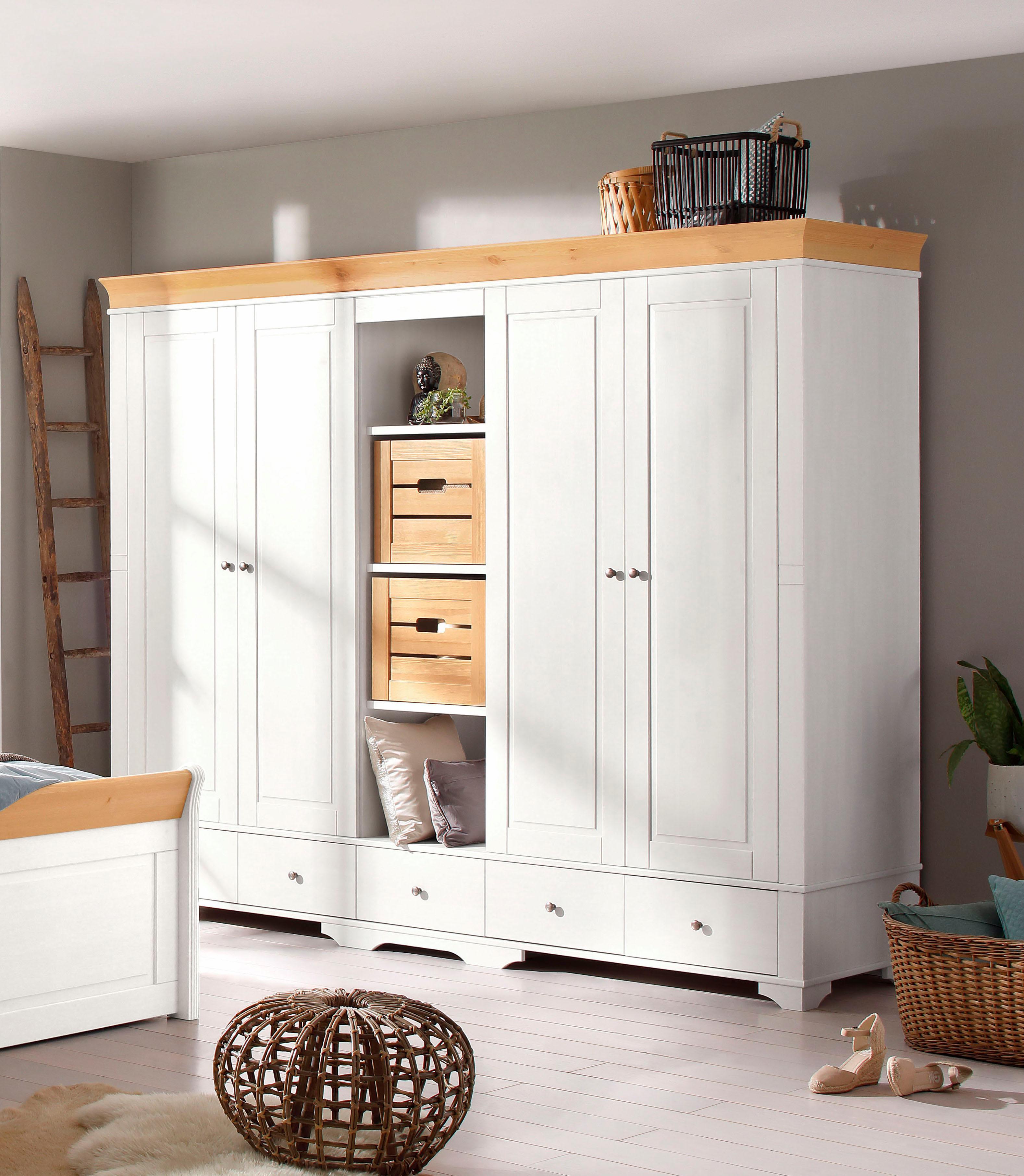Home affaire Kleiderschrank Lotta wahlweise 2- 3- 4- oder 5-geteilt in 2 Farben