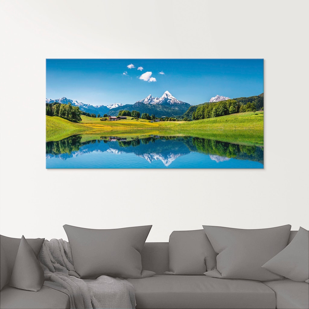 Artland Glasbild »Landschaft in den Alpen«, Berge, (1 St.)