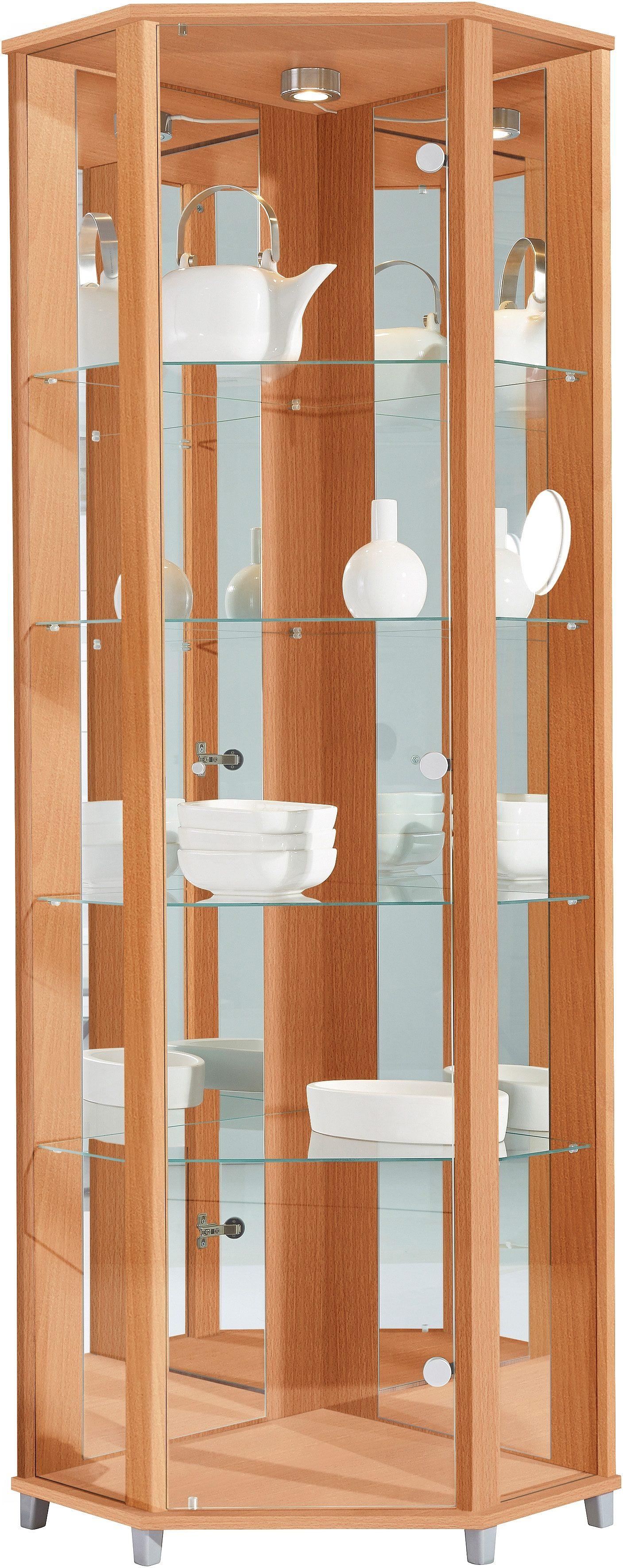 Eckvitrine, Höhe 172 cm, 4 Glasböden | Wohnzimmer > Vitrinen > Eckvitrinen | Melamin