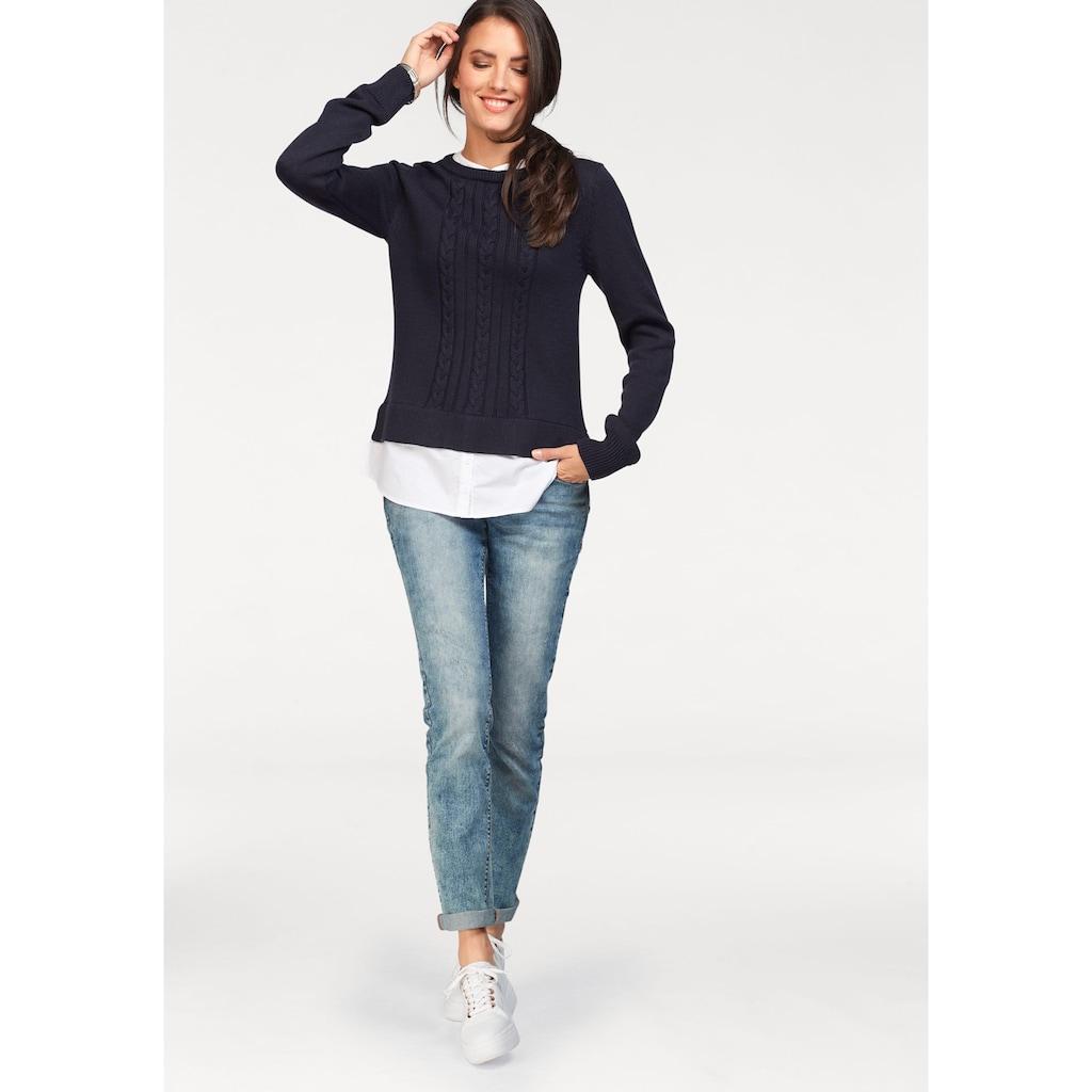 Aniston CASUAL 2-in-1-Pullover, mit Bluseneinsatz
