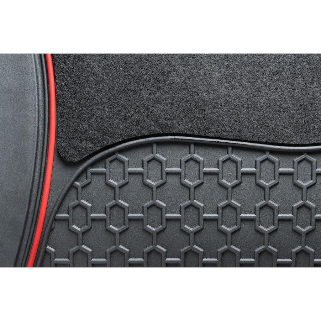 WALSER Universal-Fußmatten »Royal«, Kombi/PKW, (Set, 4 St.), mit roter Umrandung