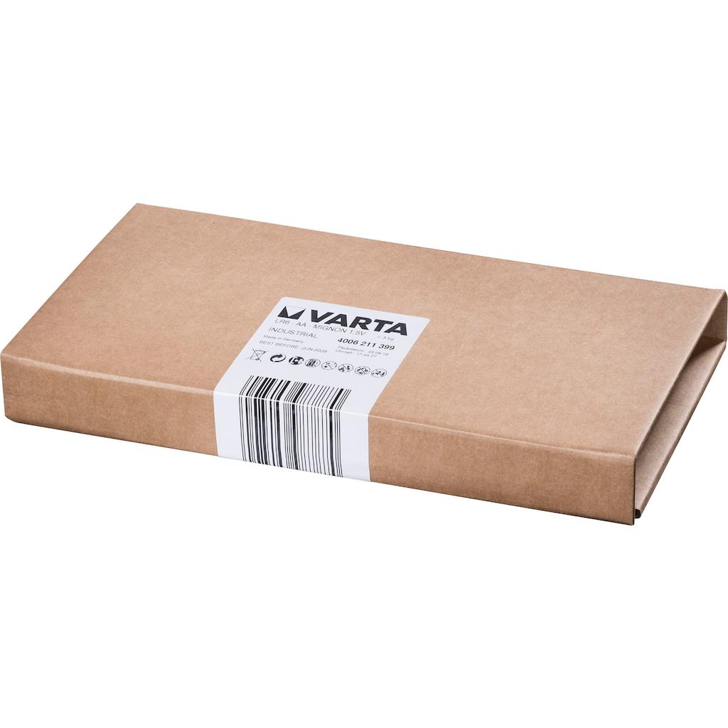 VARTA Batterie »Varta Industrial Pro Batterie AA Mignon Alkaline Batterien LR6 umweltschonende Verpackung 100er Batterien Pack Made in Germany«, 1,5 V, (Packung, 100 St.)
