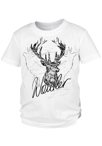 Der Trachtler Trachten T-Shirt mit witzigem Hirschmotiv kaufen