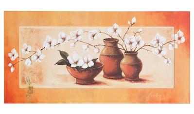 Home affaire Kunstdruck »S., A.: Weiße Kirschblüten in roten Vasen II« kaufen