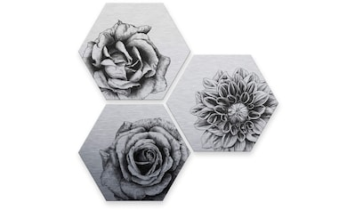 Wall-Art Mehrteilige Bilder »Silbereffekt Blumen Set«, (Set, 3 St.) kaufen
